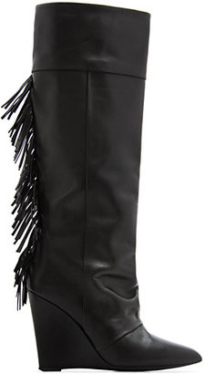 MANGO Fringed leather wedge boots