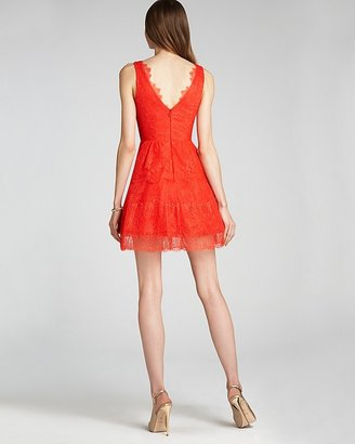 BCBGMAXAZRIA V Neck Lace Dress - Sleeveless