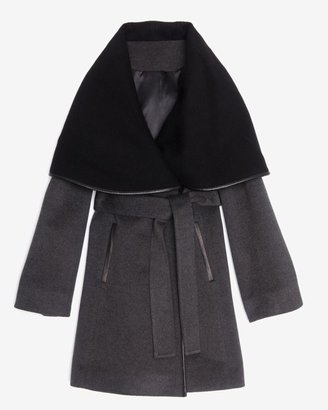 Intermix Menchi For Leather Trim Belted Contrast Wrap Coat: Grey