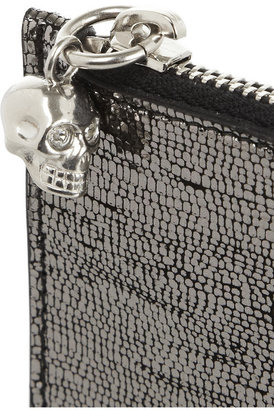 Alexander McQueen Metallic cracked-leather coin purse