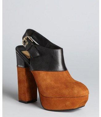 Dolce Vita cognac and black leather 'Joanna' platform clogs