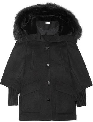 Miu Miu Raccoon and shearling-trimmed wool-blend coat