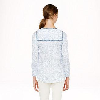 J.Crew Embroidered peasant top in block print