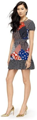 Juicy Couture Silk Patchwork Print Dress