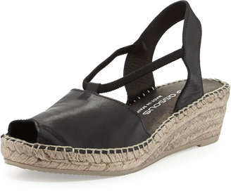 Andre Assous Dainty Leather Slip-On Espadrille Wedge, Black