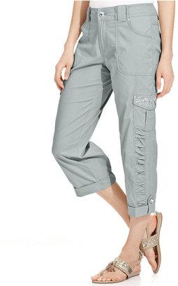 Style&Co. Petite Pants, Straight-Leg Ruched Cargo Capri