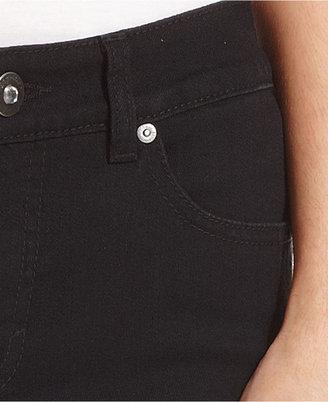 Style&Co. Petite Jeans, Straight-Leg Embellished Tummy-Control, Noir Wash
