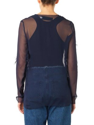Marques'Almeida Ostrich-feather silk-chiffon blouse