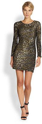 Haute Hippie Caviar Zebra-Print Sequin Dress