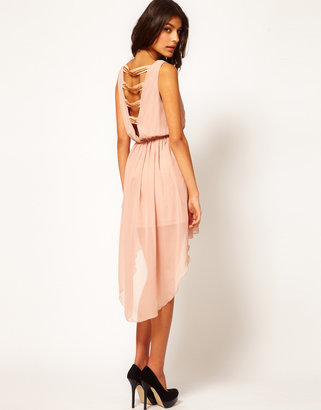 Rare Chiffon Hi Lo Dress With Chain Back