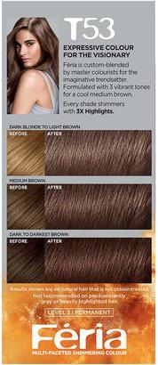 L'Oreal Feria Tortoiseshell Browns Permanent Haircolour Gel Cool Medium Brown T53