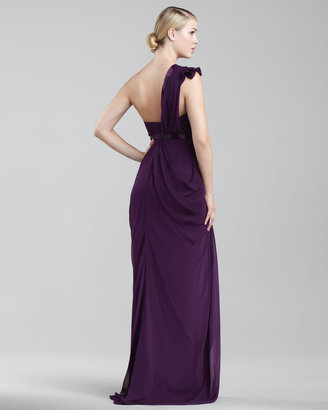 J. Mendel One-Shoulder Chiffon Gown, Plum