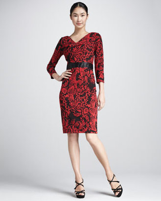 David Meister Floral-Print Cowl-Neck Dress