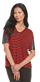 Chaus Pleather Sleeve Striped Top