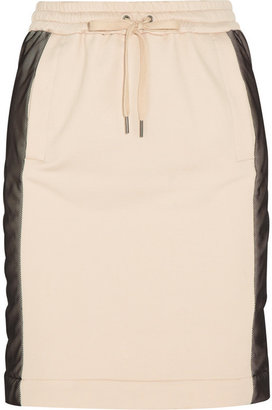 DKNY Mesh-paneled stretch-terry skirt