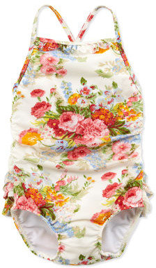 Ralph Lauren Floral-Print One-Piece Swimsuit, White, Sizes 4-6X
