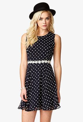 Forever 21 Polka Dot & Crochet Dress