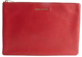 Saint Laurent red leather large zip pouch