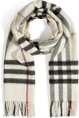 Burberry Cashmere Giant Check Icon Scarf in Ivory