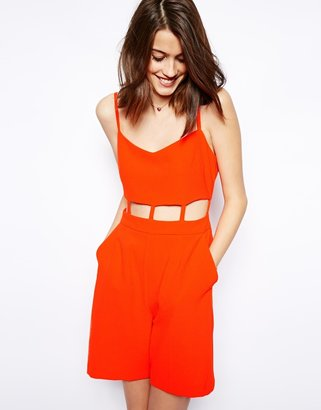 Asos Playsuit In Crepe With Cut Out