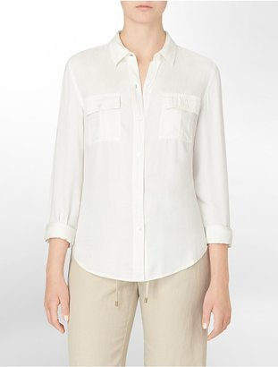 Calvin Klein Garment Washed Roll-Up Sleeve Top
