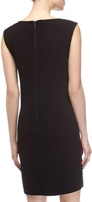 Laundry by Shelli Segal Faux-Leather Yoke Shift Dress, Black