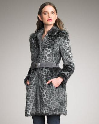 Rebecca Taylor Belted Leopard-Print Car Coat