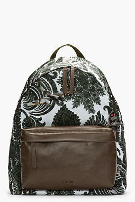 Givenchy Olive Green Leather Trimmed Paisley Print Backpack