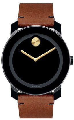 Men's Movado 'Bold' Leather Strap Watch, 42Mm $395 thestylecure.com