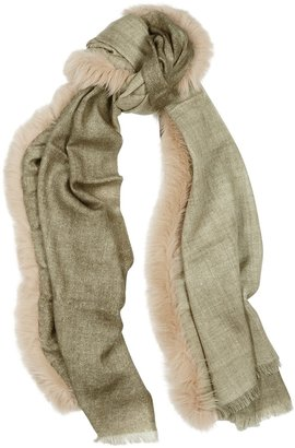 AMA Pure Olive Fur-trimmed Wool Scarf