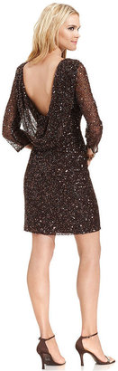 Pisarro Nights Dress, Three-Quarter-Sleeve Sequin Drape-Back Sheath