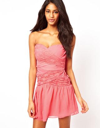 Elise Ryan Sequin Mesh Drop Waist Cocktail Dress - Orange