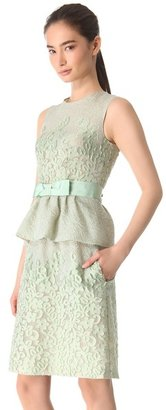 Moschino Sleeveless Peplum Dress with Bow