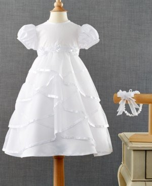 Lauren Madison Baby Girls Headband & Crisscross Christening Dress Set