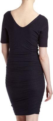 James Perse V-Neck Ruched-Skirt Dress, Prussian