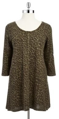 Jessica Simpson WOMENS Plus Three-quarter Sleeve Camouflage Tunic