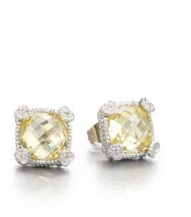 Judith Ripka La Petite Canary Crystal & Sterling Silver Cushion Stud Earrings