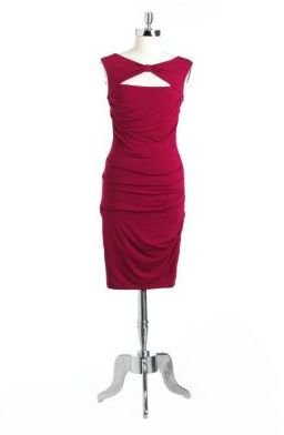 Betsey Johnson Bow Cutout Ruched Dress