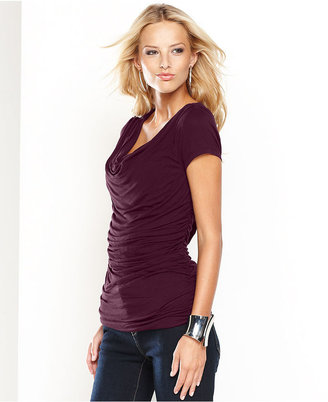 INC International Concepts Petite Top, Short-Sleeve Cowl-Neck Ruched