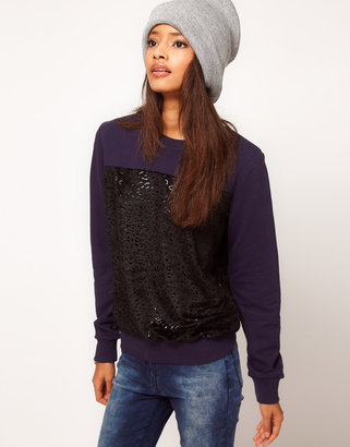 Asos Sweatshirt with Printed Fur Panel