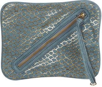 Topshop Blue Suede Fishscale Clutch