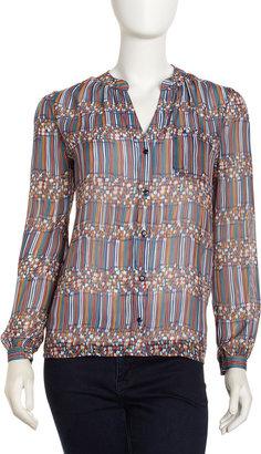 Neiman Marcus Multi-Stripe Chiffon Blouse