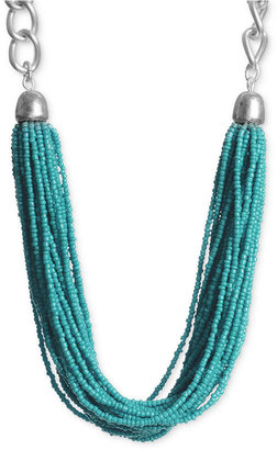 Kenneth Cole New York Necklace, Silver-Tone Turquoise Seed Bead Torsade Necklace