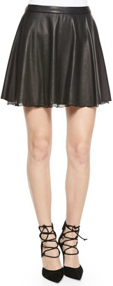 Alice + Olivia Blaise Leather Trapeze Skirt with Lace Hem