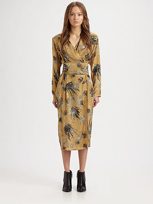 Christophe Lemaire Wrapover Paper Flower Dress