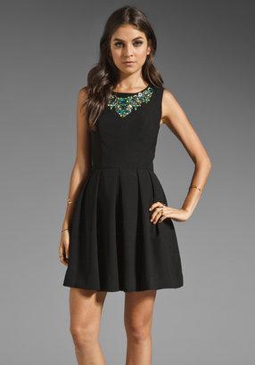 Shoshanna Elysian Night Beaded Bridgette Dress in Black/Multi Neon Beading