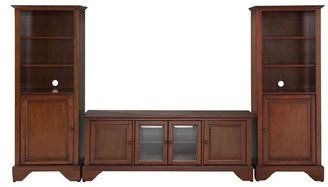 Crosley LaFayette Low Profile TV Stand and 2-Audio Piers in Mahogany