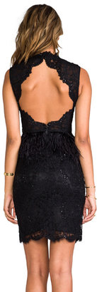 Alice + Olivia Patricia Short Feather Peplum Gown