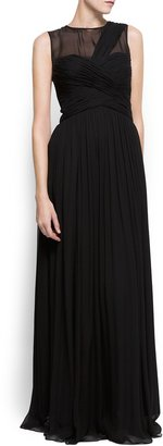MANGO Draped long silk dress