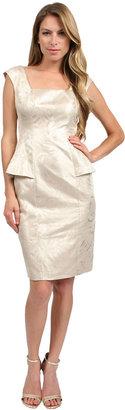 Kay Unger New York Peplum Dress in Platinum
